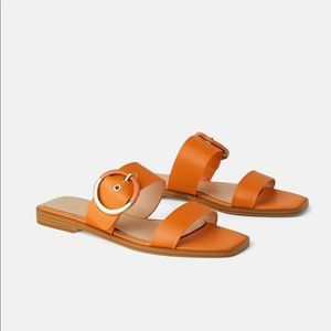 ZARA Flat Leather Sandals with Buckle